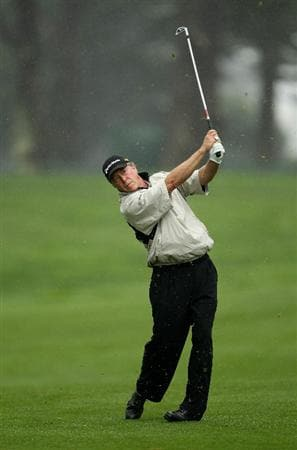 SAN FRANCISCO - NOVEMBER 07:  Michael Allen hits his second shot on the 5th hole during the final round of the Charles Schwab Cup Championship at Harding Park Golf Course on November 7, 2010 in San Francisco, California.  (Photo by Ezra Shaw/Getty Images)