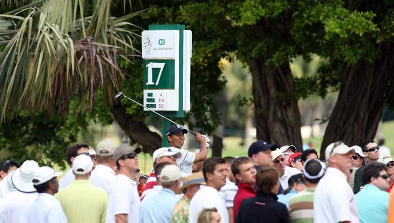 DORAL, FL - MARCH 12:  Tiger Woods of the USA tees off at the 17th hole during the first round of the World Golf Championships-CA Championship at the Doral Golf Resort & Spa on March 12, 2009 in Miami, Florida  (Photo by David Cannon/Getty Images)