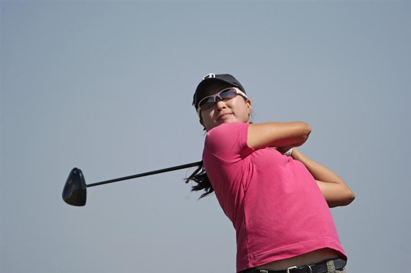 PRATTVILLE, AL - SEPTEMBER 25:   Virada Nirapathpongporn of Thailand watches her drive on the 9th tee during first round play in the Navistar LPGA Classic at the Robert Trent Jones Golf Trail at Capitol Hill on September 25, 2008 in  Prattville, Alabama.  (Photo by Dave Martin/Getty Images)