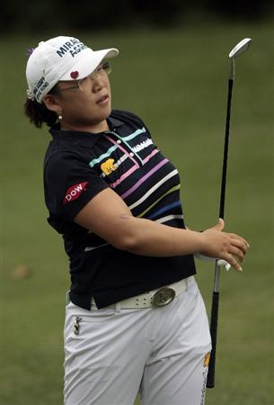 MOBILE, AL - MAY 15:  Jiyai Shin of South Korea watches her approach shot to the ninth green during third round play in the Bell Micro LPGA Classic at the Magnolia Grove Golf Course on May 15, 2010 in Mobile, Alabama.  (Photo by Dave Martin/Getty Images)