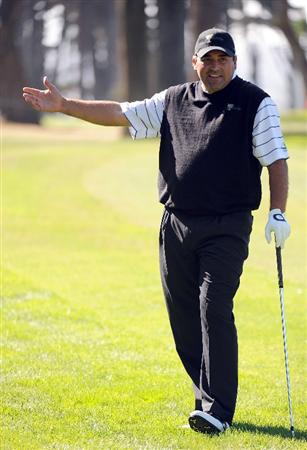 SAN FRANCISCO - OCTOBER 07:  Angel Cabrera of the International Team reacts to his shot during a practice round prior to the start of The Presidents Cup at Harding Park Golf Course on October 7, 2009 in San Francisco, California.  (Photo by Harry How/Getty Images)