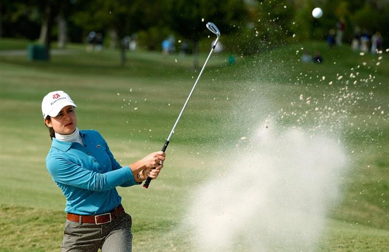 RICHMOND, TX - NOVEMBER 19:  Lorena Ochoa of Mexico plays a bunker shot on the 16th hole during the first round of the LPGA Tour Championship presented by Rolex at the Houstonian Golf and Country Club on November 19, 2009 in Richmond, Texas.  (Photo by Scott Halleran/Getty Images)