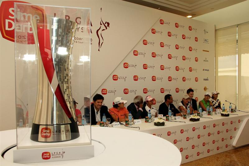 KUALA LUMPUR, MALAYSIA - OCTOBER 20 : The LPGA Trophy sits on the foreground of the Playe's press conference during the Sime Darby LPGA press conference on October 20, 2010 held at the Sime Darby Convention Centre in Kuala Lumpur, Malaysia.  (Photo by Stanley Chou/Getty Images)
