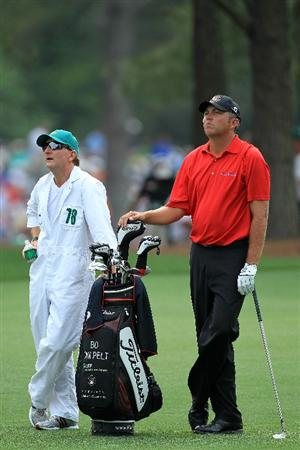 AUGUSTA, GA - APRIL 09:  Bo Van Pelt (R) looks on from the 14th hole fairway alongside caddie Mark Chaney during the third round of the 2011 Masters Tournament at Augusta National Golf Club on April 9, 2011 in Augusta, Georgia.  (Photo by David Cannon/Getty Images)