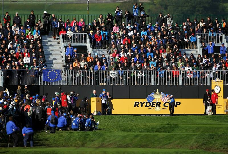 NEWPORT, WALES - OCTOBER 04:  Miguel Angel Jimenez of Europe watches his tee shot on the first hole in the singles matches during the 2010 Ryder Cup at the Celtic Manor Resort on October 4, 2010 in Newport, Wales.  (Photo by Jamie Squire/Getty Images)