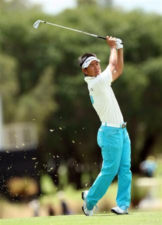 PERTH, AUSTRALIA - FEBRUARY 21: Hiroyuki Fujita of Japan hits his second shot at the 17th hole during the third round of the 2009 Johnnie Walker Classic tournament at the Vines Resort and Country Club, on February 21, 2009, in Perth, Australia  (Photo by David Cannon/Getty Images)