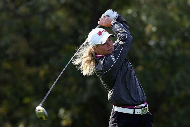 INCHEON, SOUTH KOREA - NOVEMBER 02:  Suzann Pettersen of Norway plays her tee shot on the 2nd hole during round three of the Hana Bank KOLON Championship at Sky72 Golf Club on November 2, 2008 in Incheon, South Korea.  (Photo by Chung Sung-Jun/Getty Images)
