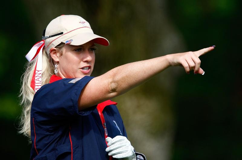 SUGAR GROVE, IL - AUGUST 20:  Brittany Lincicome of the U.S. Team lines up a shot during a practice round prior to the start of the 2009 Solheim Cup at Rich Harvest Farms on August 20, 2009 in Sugar Grove, Illinois.  (Photo by Scott Halleran/Getty Images)