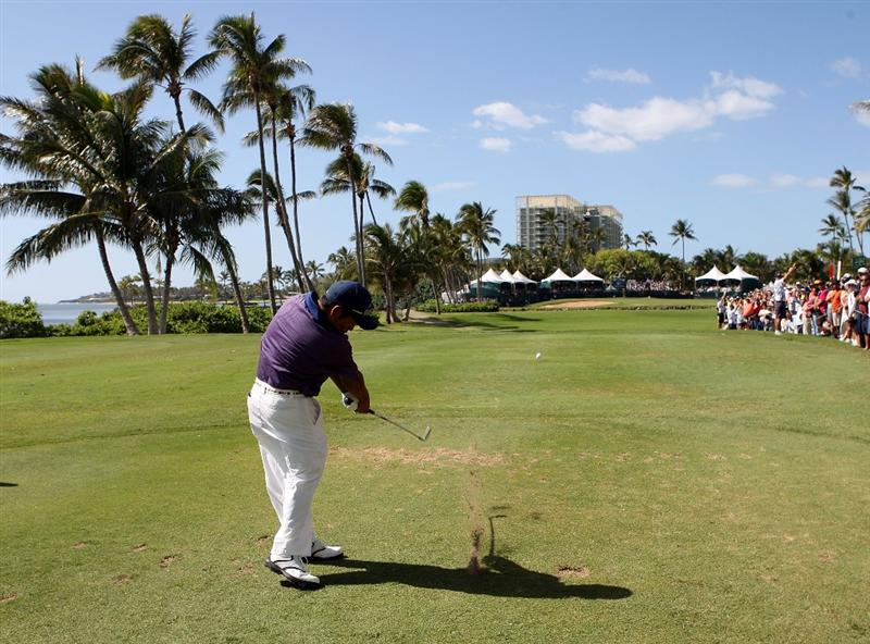 HONOLULU - JANUARY 17:  Tadd Fujikawa hits a shot on the 17th hole during the third round of the Sony Open at Waialae Country Club on January 17, 2009 in Honolulu, Hawaii.  (Photo by Sam Greenwood/Getty Images)