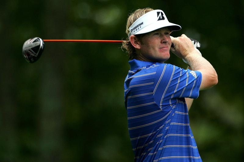 NORTON, MA - SEPTEMBER 03:  Brandt Snedeker hits a shot on the ninth hole during the first round of the Deutsche Bank Championship at TPC Boston on September 3, 2010 in Norton, Massachusetts.  (Photo by Michael Cohen/Getty Images)