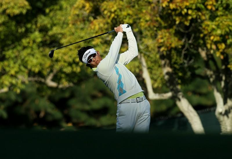 PACIFIC PALISADES, CA - FEBRUARY 17:  Ryuji Imada of Japan hits his second shot on the first hole during round one of the Northern Trust Open at Riviera Counrty Club on February 17, 2011 in Pacific Palisades, California.  (Photo by Stephen Dunn/Getty Images)