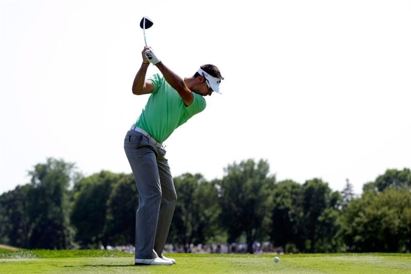 CHASKA, MN - AUGUST 14:  Alvarro Quiros of Spain hits his tee shot on the third hole during the second round of the 91st PGA Championship at Hazeltine National Golf Club on August 14, 2009 in Chaska, Minnesota.  (Photo by Jamie Squire/Getty Images)