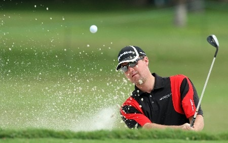 MIAMI - MARCH 19:  Peter Hanson of Sweden playing from a bunker at the 15th hole during practice for the 2008 World Golf Championships CA Championship at the Doral Golf Resort & Spa, on March 19, 2008 in Miami, Florida.  (Photo by David Cannon/Getty Images)