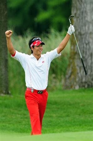 CHASKA, MN - AUGUST 16:  Ryo Ishikawa of Japan celebrates after holing out for birdie on the 16th hole during the final round of the 91st PGA Championship at Hazeltine National Golf Club on August 16, 2009 in Chaska, Minnesota.  (Photo by Stuart Franklin/Getty Images)