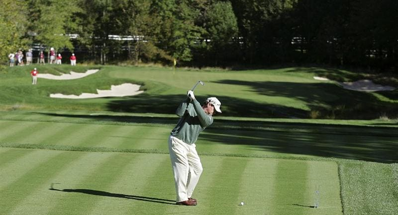 POTOMAC, MD - OCTOBER 08:  Tom Watson hits his tee shot on the third hole during the second round of the Constellation Energy Senior Players Championship held at TPC Potomac at Avenel Farm on October 8, 2010 in Potomac, Maryland.  (Photo by Michael Cohen/Getty Images)