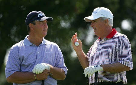 NEWPORT BEACH, CA - MARCH 8:  Curtis Strange (R) chats with Tom Purtzer on the fifth hole tee box during the second round of the PGA Champions Tour Toshiba Classic at the Newport Beach Country Club March 8, 2008 in Newport Beach, California.  (Photo by Robert Laberge/Getty Images)