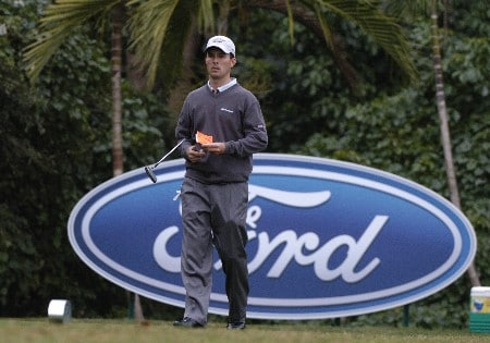 Mike Weir waits to tee  off during first-round competition March 3, 2005  at the Ford Championship at Doral in Miami.