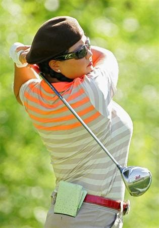 CORNING, NY - MAY 22:  Christina Kim of the United States hits a drive during the second round of the LPGA Corning Classic at the Corning Country Club held on May 22, 2009 in Corning, New York.  (Photo by Michael Cohen/Getty Images)
