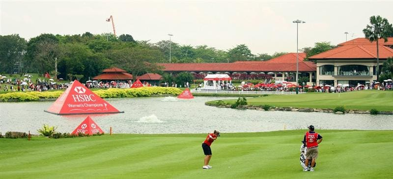 SINGAPORE - MARCH 07:  Angela Stanford of the USA hits her second shot on the 18th hole during the third round of the HSBC Women's Champions at Tanah Merah Country Club on March 7, 2009 in Singapore.  (Photo by Andrew Redington/Getty Images)