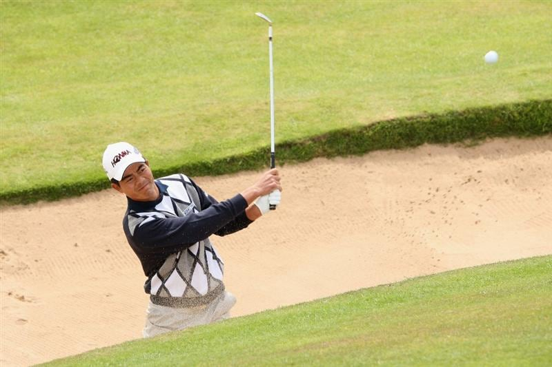 TURNBERRY, SCOTLAND - JULY 14:   Wen-Chong Liang of China hits from a bunker during a practice round prior to the 138th Open Championship on the Ailsa Course, Turnberry Golf Club on July 14, 2009 in Turnberry, Scotland.  (Photo by Ross Kinnaird/Getty Images)