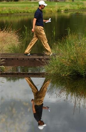 LUSS, UNITED KINGDOM - JULY 12:  Martin Kaymer of Germany walks across the bridge on the 10th hole during the Final Round of The Barclays Scottish Open at Loch Lomond Golf Club on July 12, 2009 in Luss, Scotland. (Photo by Richard Heathcote/Getty Images)