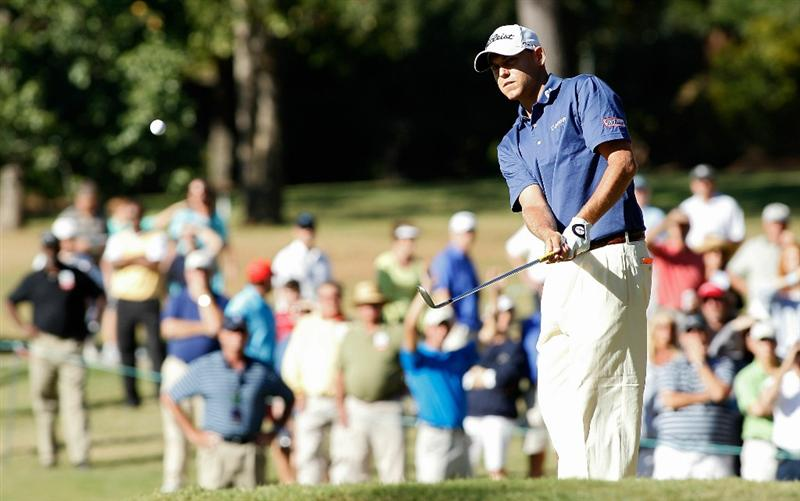 MADISON, MS - OCTOBER 03: Bill Haas hits his third shot on the 14th hole during the final round of the Viking Classic held at Annandale Golf Club on October 3, 2010 in Madison, Mississippi.  (Photo by Michael Cohen/Getty Images)