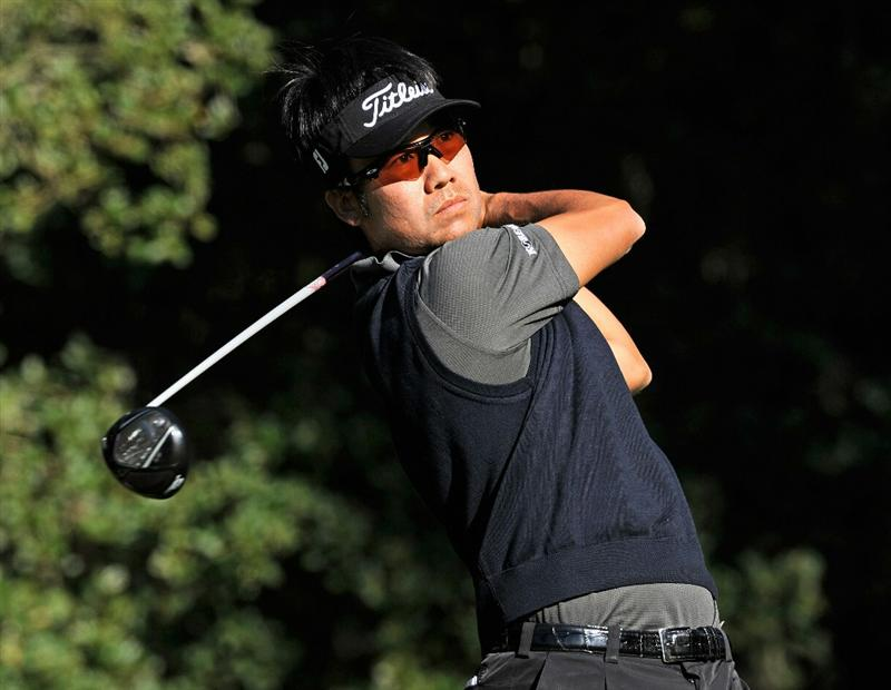 PEBBLE BEACH, CA - FEBRUARY 12:  Kevin Na plays his tee shot on the eighth hole during the third round of the AT&T Pebble Beach National Pro-Am at the Spyglass Hil Golf Course on February 11, 2011  in Pebble Beach, California  (Photo by Stuart Franklin/Getty Images)