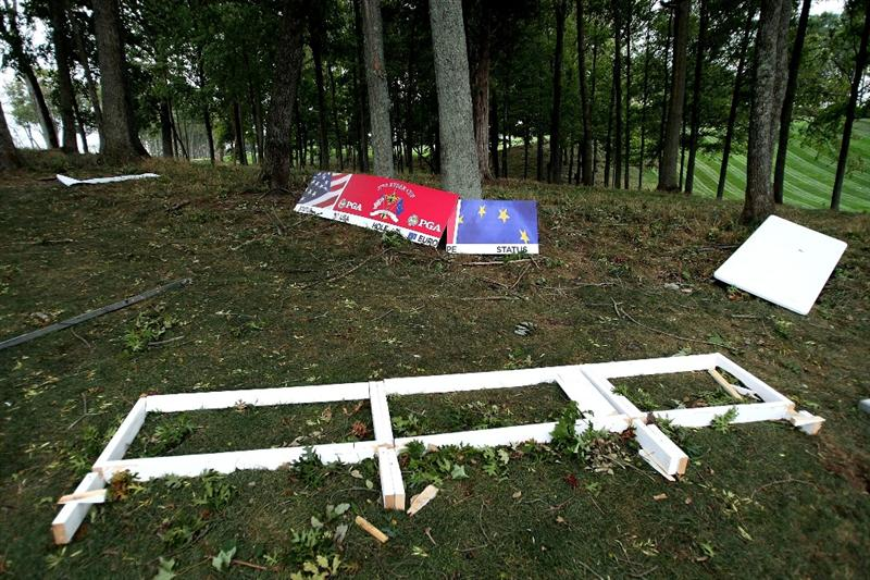 LOUISVILLE, KY - SEPTEMBER 15:  Sign boards are seen on the ground after being blown over during the practice day prior to the 2008 Ryder Cup at Valhalla Golf Club of September 15, 2008 in Louisville, Kentucky.  (Photo by Harry How/Getty Images)