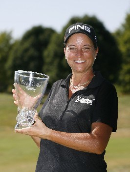 SPRINGFIELD, IL - SEPTEMBER 2: Sherri Steinhauer holds the championship trophy after winning the State Farm Classic at Panther Creek Country Club on September 2, 2007 in Springfield, Illinois.  (Photo by Hunter Martin/Getty Images)