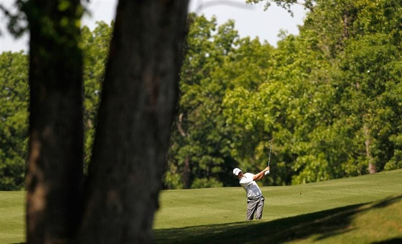ATHENS, GA - APRIL 29:  James Hahn plays his second shot from the sixth fairway during the first round of the 2010 Stadion Athens Classic at the University of Georgia Golf Course on April 29, 2010 in Athens, Georgia.  (Photo by Kevin C. Cox/Getty Images)