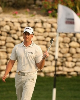 DOHA, QATAR - JANUARY 27:  Henrik Stenson of Sweden on the 16th green during the final round of the Commercialbank Qatar Masters held at the Doha Golf Club on January 27, 2008 in Doha,Qatar.  (Photo by Ross Kinnaird/Getty Images)