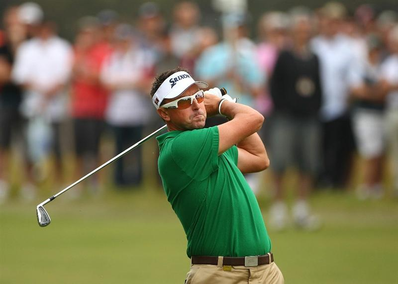 MELBOURNE, AUSTRALIA - NOVEMBER 11:  Robert Allenby of Australia hits a shot off the fairway during day one of the Australian Masters at The Victoria Golf Club on November 11, 2010 in Melbourne, Australia.  (Photo by Robert Cianflone/Getty Images)