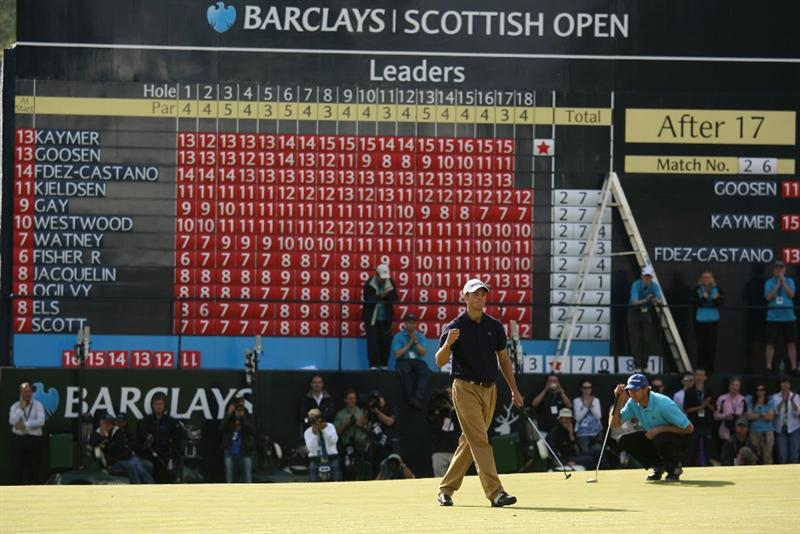 LUSS, UNITED KINGDOM - JULY 12:  Martin Kaymer of Germany celebrates his victory during the Final Round of The Barclays Scottish Open at Loch Lomond Golf Club on July 12, 2009 in Luss, Scotland. (Photo by Warren Little/Getty Images)