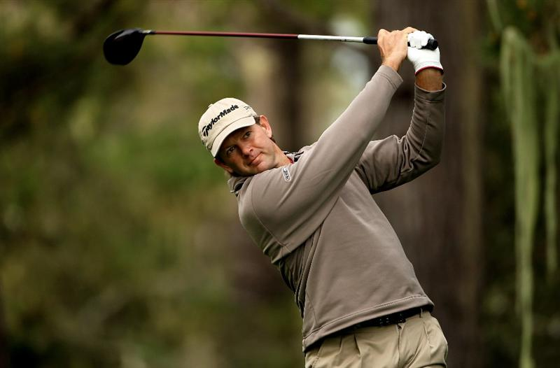 PEBBLE BEACH, CA - FEBRUARY 11:  Retief Goosen of South Africa tees off on the 13th hole during the first round of the AT&T Pebble Beach National Pro-Am at at the Spyglass Hill Golf Course on February 11, 2010 in Pebble Beach, California.  (Photo by Ezra Shaw/Getty Images)