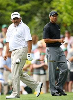 AUGUSTA, GA - APRIL 11:  Angel Cabrera of Colombia (L) and Tiger Woods walk across the seventh tee during the second round of the 2008 Masters Tournament at Augusta National Golf Club on April 11, 2008 in Augusta, Georgia.  (Photo by Andrew Redington/Getty Images)