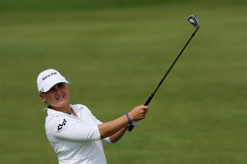 LYTHAM ST ANNES, ENGLAND - JULY 30:  Martina Eberl of Germany hits her second shot on the 2nd hole during the first round of the 2009 Ricoh Women's British Open Championship held at Royal Lytham St Annes Golf Club, on July 30, 2009 in  Lytham St Annes, England.  (Photo by David Cannon/Getty Images)