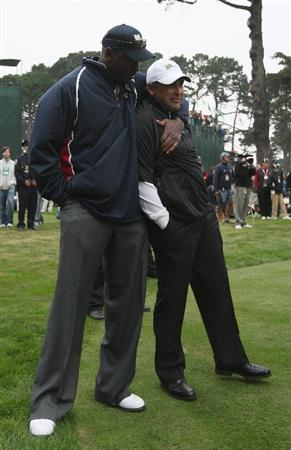 SAN FRANCISCO - OCTOBER 10:  Angel Cabrera of the International Team is hugged by the USA Team Assistant Michael Jordan during the Day Three Afternoon Fourball Matches of The Presidents Cup at Harding Park Golf Course on October 10, 2009 in San Francisco, California.  (Photo by Warren Little/Getty Images)
