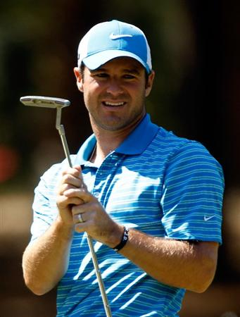 HILTON HEAD ISLAND, SC - APRIL 16:  Trevor Immelman of South Africa watches a putt on the 11th green during the second round of the Verizon Heritage at the Harbour Town Golf Links on April 16, 2010 in Hilton Head lsland, South Carolina.  (Photo by Scott Halleran/Getty Images)