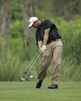 Arjun Atwal on the 5th hole during the third round of the Zurich Classic being played at The TPC of New Orleans in New Orleans, Louisiana on April 30, 2005.Photo by Mike Ehrmann/WireImage.com
