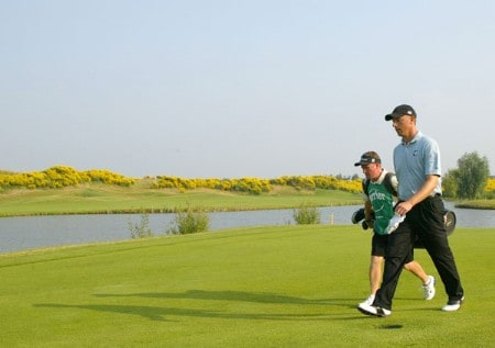 Soren Hansen (DEN) with his caddy walk to green 15 during the fourth and final round of the Open de France as part of the European PGA circuit at St Quentin near Paris, France 26 JUNE 2005Photo by Alexanderk/WireImage.com