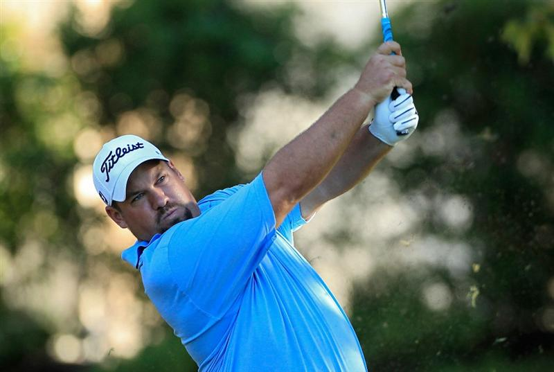 MADISON, MS - OCTOBER 01: Brendon de Jonge of Zimbabwe hits a shot during the second round of the Viking Classic held at Annandale Golf Club on October 1, 2010 in Madison, Mississippi.  (Photo by Michael Cohen/Getty Images)