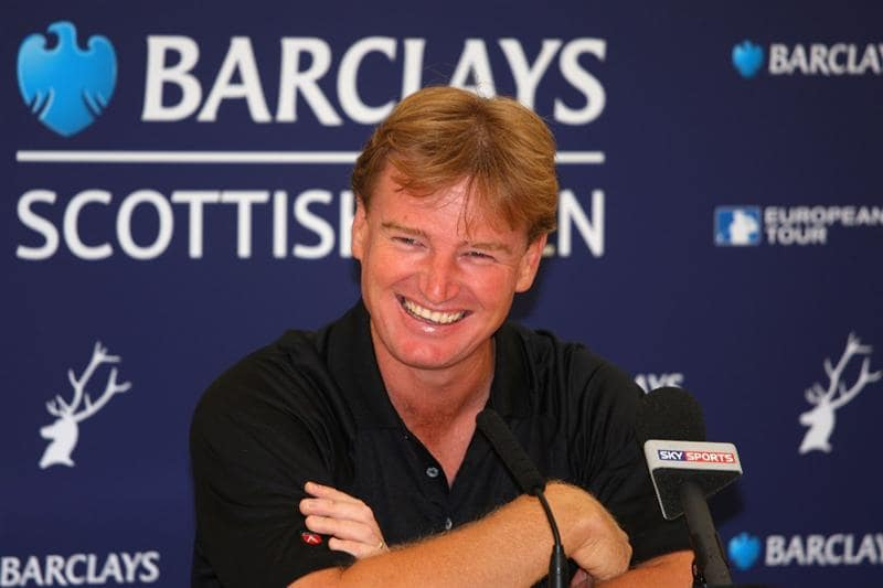 LUSS, UNITED KINGDOM - JULY 08:  Ernie Els of South Africa listens to questions from the media at a press conference during the Pro Am prior to The Barclays Scottish Open at Loch Lomond Golf Club on July 08, 2009 in Luss, Scotland. (Photo by Andrew Redington/Getty Images)