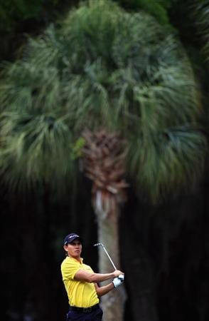 HILTON HEAD ISLAND, SC - APRIL 22:  Camilo Villegas of Colombia hits a shot from the fairway during the second round of The Heritage at Harbour Town Golf Links on April 22, 2011 in Hilton Head Island, South Carolina.  (Photo by Streeter Lecka/Getty Images)