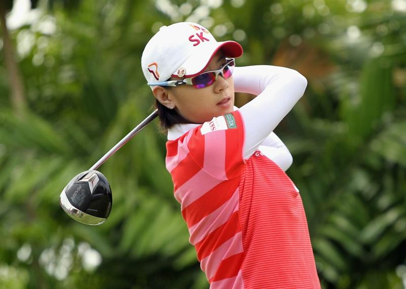 SINGAPORE - FEBRUARY 27:  Na Yeon Choi of South Korea hits her tee shot on the seventh hole during the final round of the HSBC Women's Champions 2011 at the Tanah Merah Country Club on February 27, 2011 in Singapore, Singapore.  (Photo by Scott Halleran/Getty Images)