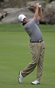 Bo Van Pelt hits his approach shot on the 5th hole during the third round of the 84 LUMBER Classic held on the Mystic Rock Course at Nemacolin Woodlands Resort & Spa in Farmington, Pennsylvania, on September 16, 2006.Photo by Hunter Martin/WireImage.com