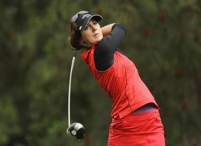 CITY OF INDUSTRY, CA - MARCH 27:  Sandra Gal of Germany hits her tee shot on the ninth hole during the final round of the Kia Classic on March 27, 2011 at the Industry Hills Golf Club in the City of Industry, California.  (Photo by Scott Halleran/Getty Images)