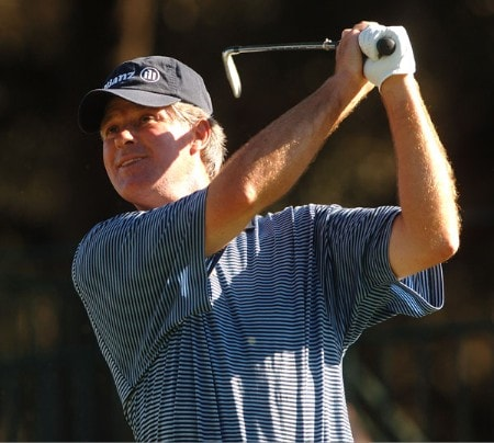 John Harris hits from the 18th tee during the first round of the Champion's TOUR 2005 SBC Championship at Oak Hills Country Club in San Antonio, Texas October 21, 2005.Photo by Steve Grayson/WireImage.com