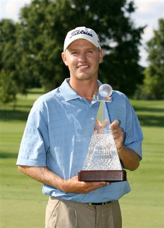 COLUMBUS, OH - AUGUST 02 : Derek Lamely holds the championship trophy after winning the Nationwide Children's Hospital Invitational at The Ohio State Golf Club on August 2, 2009 in Columbus, Ohio. (Photo by Hunter Martin/Getty Images)