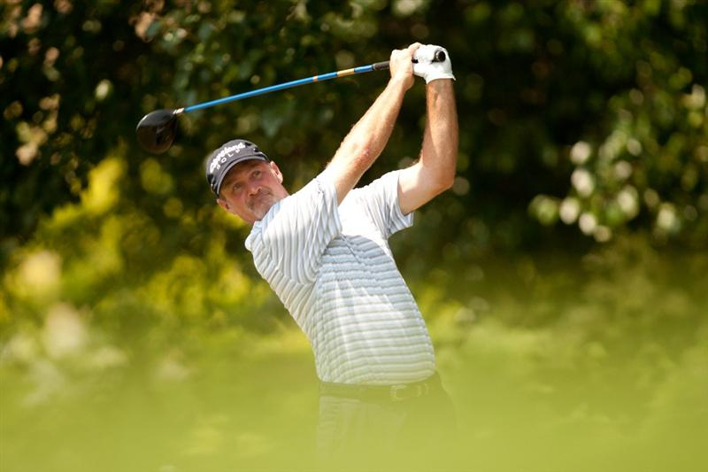 IRVING, TX - MAY 28: Jerry Kelly follows through on a tee shot during the third round of the HP Byron Nelson Championship at TPC Four Seasons at Las Colinas on May 28, 2011 in Irving, Texas. (Photo by Darren Carroll/Getty Images)