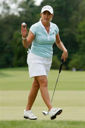 BETHLEHEM, PA - JULY 10:  Cristie Kerr reacts after a for par on the 18th hole during the second round of the 2009 U.S. Women's Open at Saucon Valley Country Club on July 10, 2009 in Bethlehem, Pennsylvania.  (Photo by Chris Graythen/Getty Images)